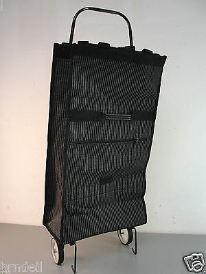 Collapsible Rolling Grocery Reusable Folding Shopping Bag Travel Wheels Black