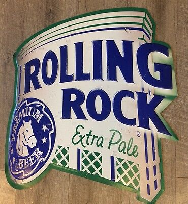 Rolling Rock Extra Pale Tin Metal Beer Sign Man Cave Bar 21 x 24