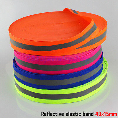 Safety Reflective Belt Elastic Band Tape Fabric 40mmx15mm Choose Color & Length