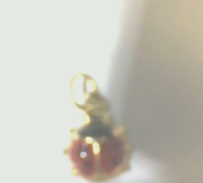 14k Real Yellow Gold 7.5x13mm Red and Black Enamel Lady Bug Pendant