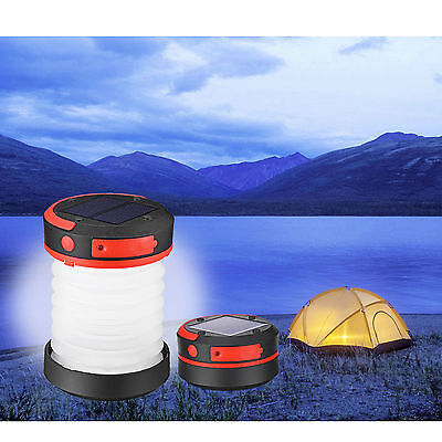 Liqoo Camping Lantern Solar Lamp Collapsible Rechargeable Light Torch Tent Flash