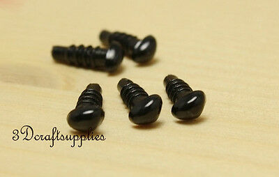 toy safety doll Noses plastic toy dolls craft 34 pcs black 6 mm EA55