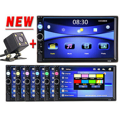 NEW 2 Din Car Video Player 7'' HD Touch Screen Bluetooth Stereo Radio FM MP3 MP4