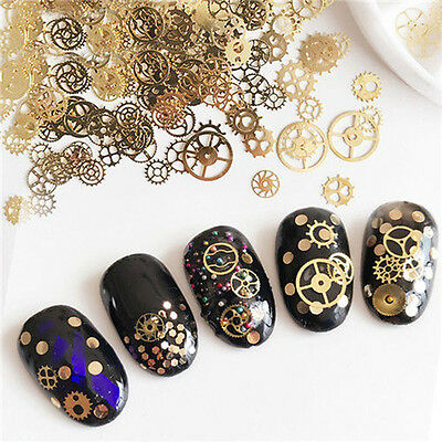 Ultra-thin 3D Nail Art Decorations Bronze Time Steam Punk Style Manicure Wheel