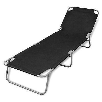 New Foldable Sun Lounger with Adjustable Backrest Black Garden Patio Reclining
