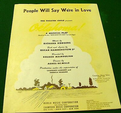 People Will Say We're in Love, (OKLAHOMA), 1953 Sheet Music, Canada, No Tape
