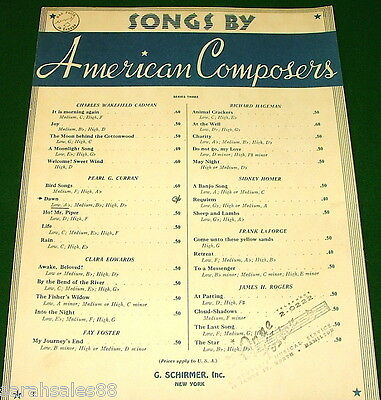 DAWN, 1918 American Composers Songs Series 3 Sheet Music WAR PRICE Stamp No Tape