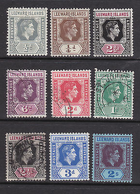 Leeward Islands - George VI selection - 9 stamps mint and used mixture.