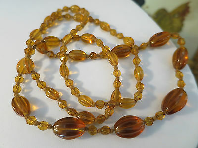 Vintage Antique Amber Glass Circa 1930's Necklace, Hand Knotted