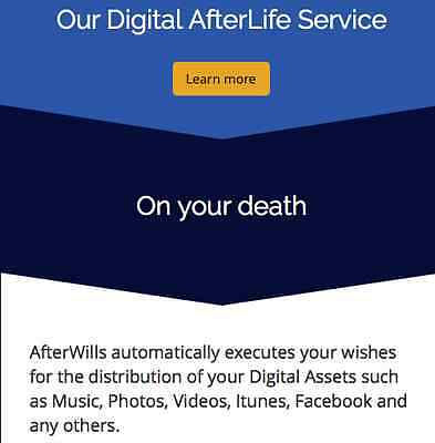 AfterWills - Provide clients with the Unique Digital Afterlife Management Svce