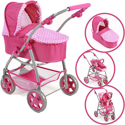 Bayer Chic 2000 Puppenwagen Emotion All In 3 in 1 dots pink Buggy Kombi Autositz