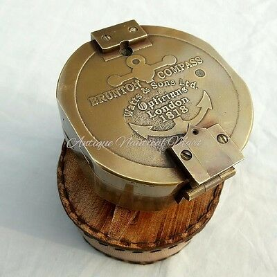 Brass Brunton Compass With Leather Box Maritime Gift Antique