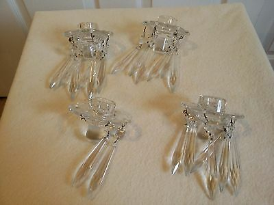 4 Matching Antique Glass Candle Insert Holders Bobeches w Dangling Crystals HTF