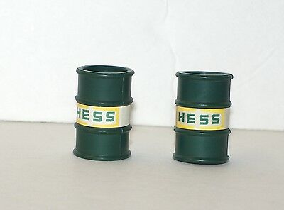 (2) 1975 Hess Truck Green / Yellow Outlined Oil Barrels