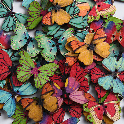 50Pcs/set Wood Butterfly Shaped Wooden Buttons DIY Cartoon Priting Hole Buttons