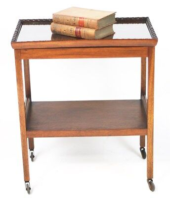Vintage Mahogany Removable Tray Top Serving Tea Trolley / Side Table [PL3084]