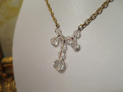 Vintage 1950's Hand Cut Crystal Necklace, With Gold Tone, Lovely