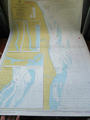 "1978 Approaches LOWESTOFT HARBOUR & GREAT YARMOUTH SEA MAP Chart 28"" x 41"""