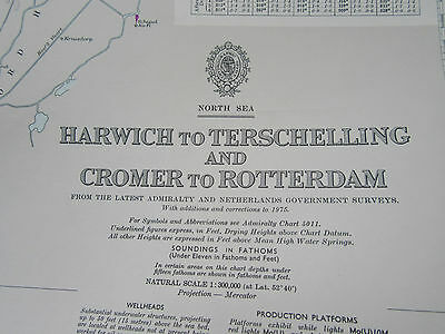 "1977 HARWICH to TERSCHELLING & CROMER to ROTTERDAM Sea MAP Chart 28"" x 41"" (B)"
