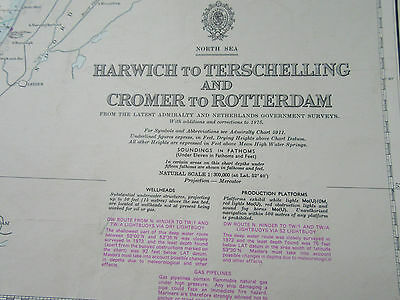"1977 HARWICH to TERSCHELLING & CROMER to ROTTERDAM Sea MAP Chart 28"" x 41"""