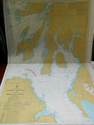 "1988 North Channel BELFAST to FIRTH of LORNE SCOTLAND Nautical SEA MAP 28""x41"""