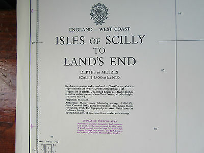 "1978 - ISLES of SCILLY to LAND'S END - Nautical SEA MAP Chart 28"" x 41"""
