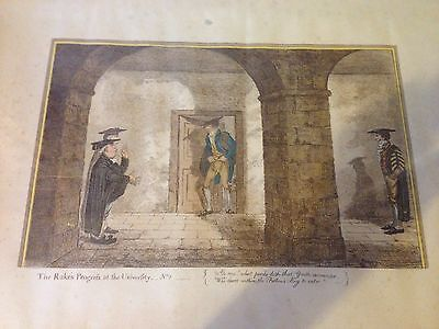 Antique 19th Century Etching The Rake's Progrefs At The University No.1 1800s