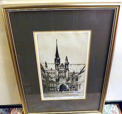 The Guildhall London, Signed Etching/Print from 1807, Mounted and Framed