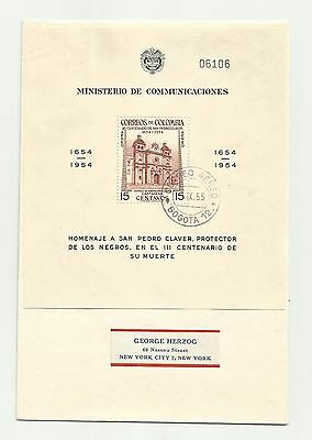 Colombia 1954 m/s used on airmail cover lot 2
