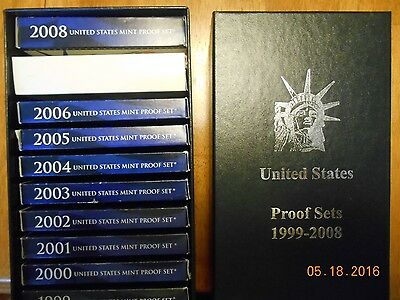 1999 - 2008 10 Years Annual US Mint PROOF Sets w boxes & COA'S, and Storage Box