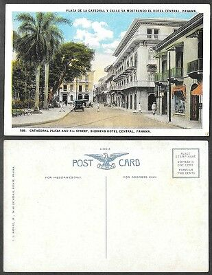 Old Panama Postcard - Cathedral Plaza and 5th Street, Hotel Central