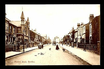 Beecles - Station Road - printed postcard