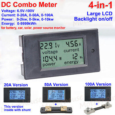 DC LCD Combo Voltage current KWh Watt Meter 12V 24V 36V 48V Car Battery Monitor