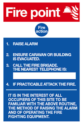 10 x fire action notices signs for caravans self adhesive vinyl 200x300mm FE587C