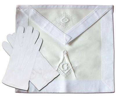 Masonic All White Master Mason Apron Hand Embroidered (Free Usa Shipping )