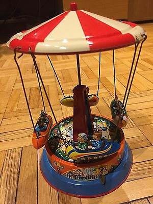 Carousel Wind Up Retro Tin Toy - Collectible