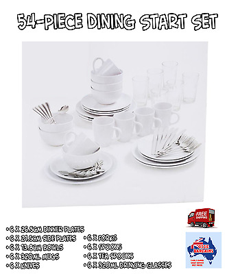 54 Piece Dining Set  -Starter Pack- White Solid Dinnerware - Plates Bowls Mugs +