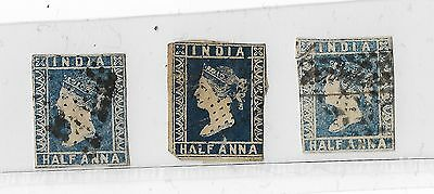 1854 India Stamps Half Anna - Pale Blue / Blue / Dark Blue - Used