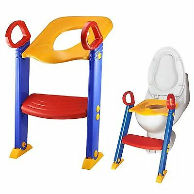 Baby Kids Child Toddler Potty Training Toilet Ladder Seat Steps Space Saving
