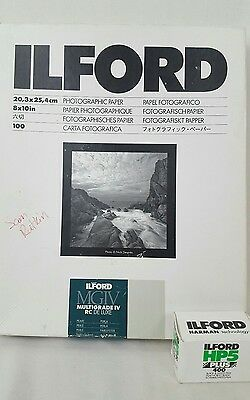 "ILFORD MGIV RC 8x10"" 25 Sheets PEARL Multigrade Paper HP5 PLUS 400 B&W Combo lot"