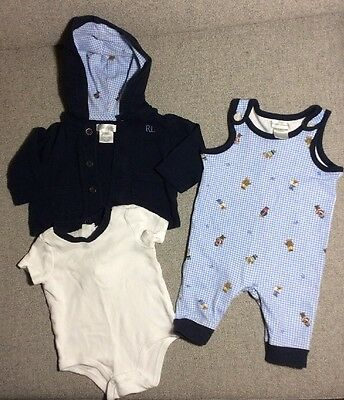 Set Of 3 Baby Boy Outfit Ralph Lauren Polo 3 Months