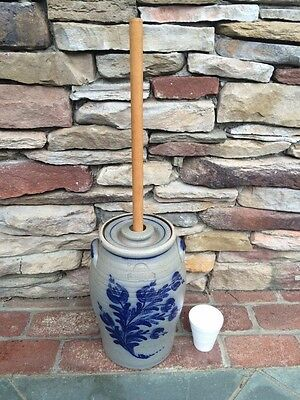 Rowe Pottery Vintage Butter Churn & Dasher Cobalt and Glazed Stamped 1982 NICE!