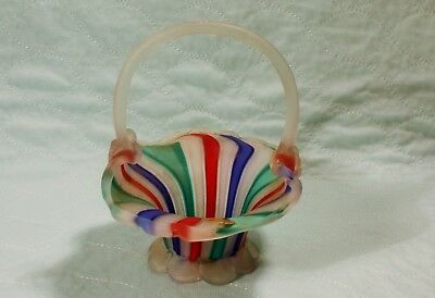 Murano Frosted Glass Striped Multi Colored Basket