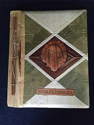 Dominican Rebuplic Photo Album Scrap Book Souvenir Made With Wood,Leaves Natural