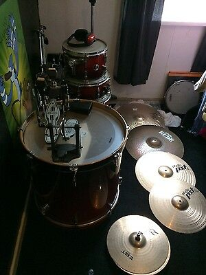 drum kit with cymbals and stands