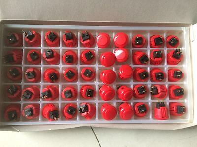 lot 50 A Box  New Sanwa OBSF-24 Red Buttons Original made in Japan NOT OEM