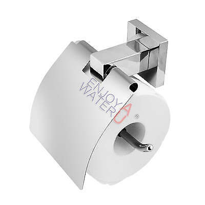Toilet Paper Roll Holder With Cover Square Bathroom Polished Stainless Steel 304