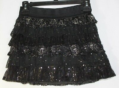 GIRLS 10 Justice Black SKORT SHORTS SKIRT Elastic Waist with Ruffles and Sequins