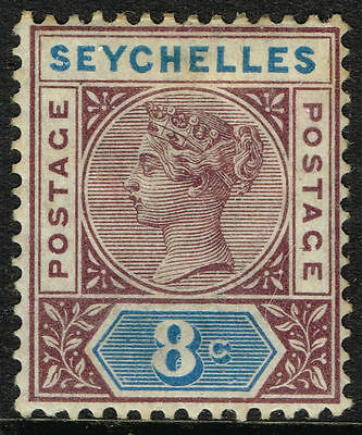 SG 3 SEYCHELLES 1890 - 8c BROWN-PURPLE & BLUE - MOUNTED MINT