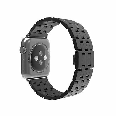 Simpeak iWatch Band 42mm Stainless Steel Replacement Strap for Apple Watch Black